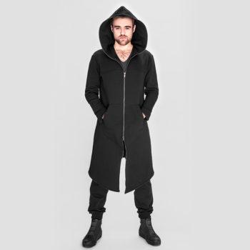 Długi, asymetryczny płaszcz EXPRESS z kapturem