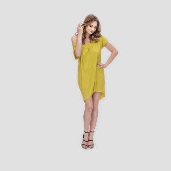 Limonkowa sukienka ŁEZKA z odkrytymi plecami