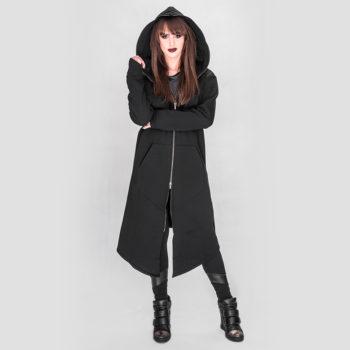 Długi, asymetryczny płaszcz EXPRESS z kapturem różne kolory