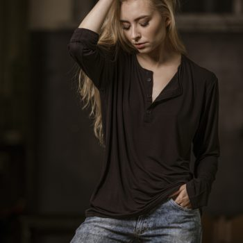 T-shirt z guzikami unisex długi rękaw