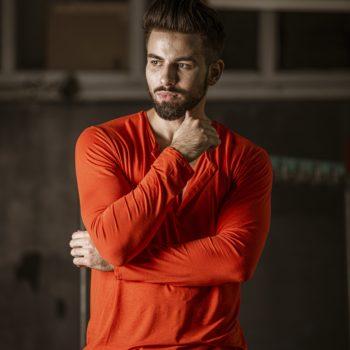 T-shirt z guzikami ORANGE unisex długi rękaw