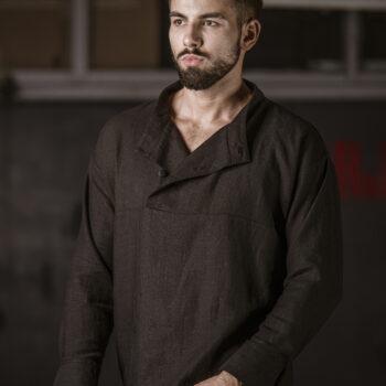 Koszula lniana męska MASTER CHEF czarna