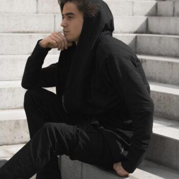 Bluza z kapturem, rozpinana, asymetryczna BIG ZIP czarna